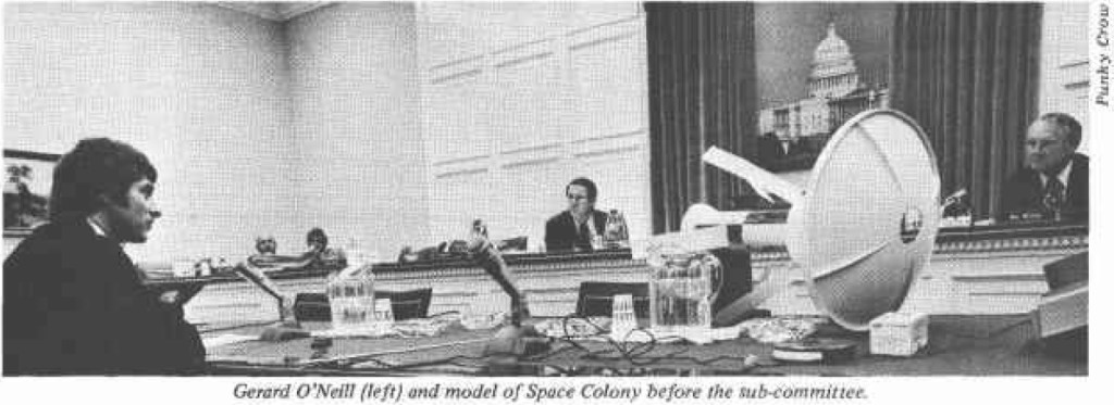 Gerard O'Neill and model of Space Colony before the Sub-committee